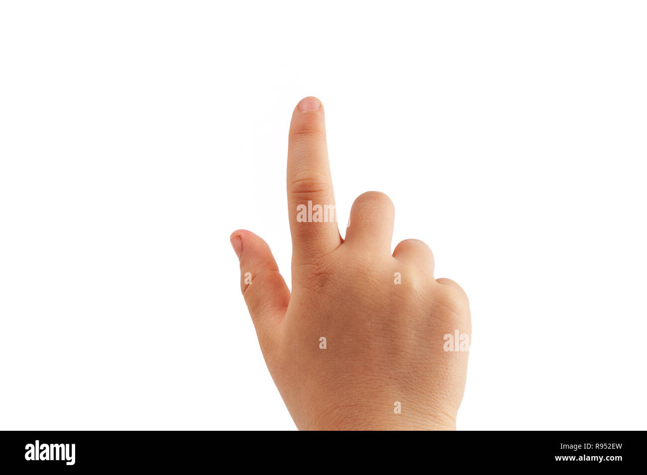 Little girl's right hand tapping with index finger isolated on white background - Stock Image