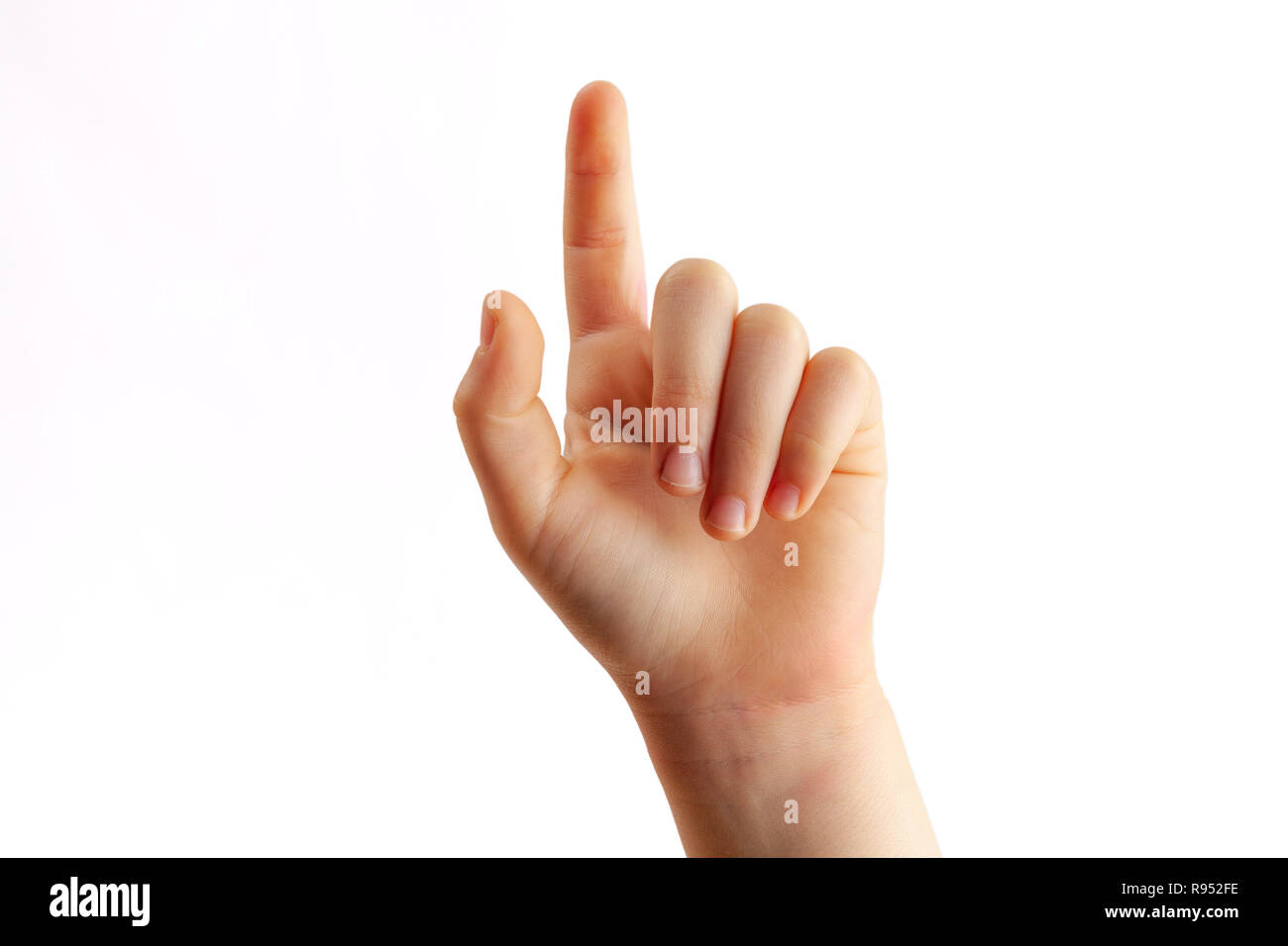 Child right hand tapping with index finger closeup - isolated on white background - Stock Image