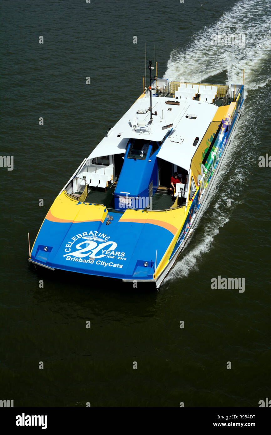 CityCat catamaran on Brisbane River, Brisbane, Queensland, Australia - Stock Image