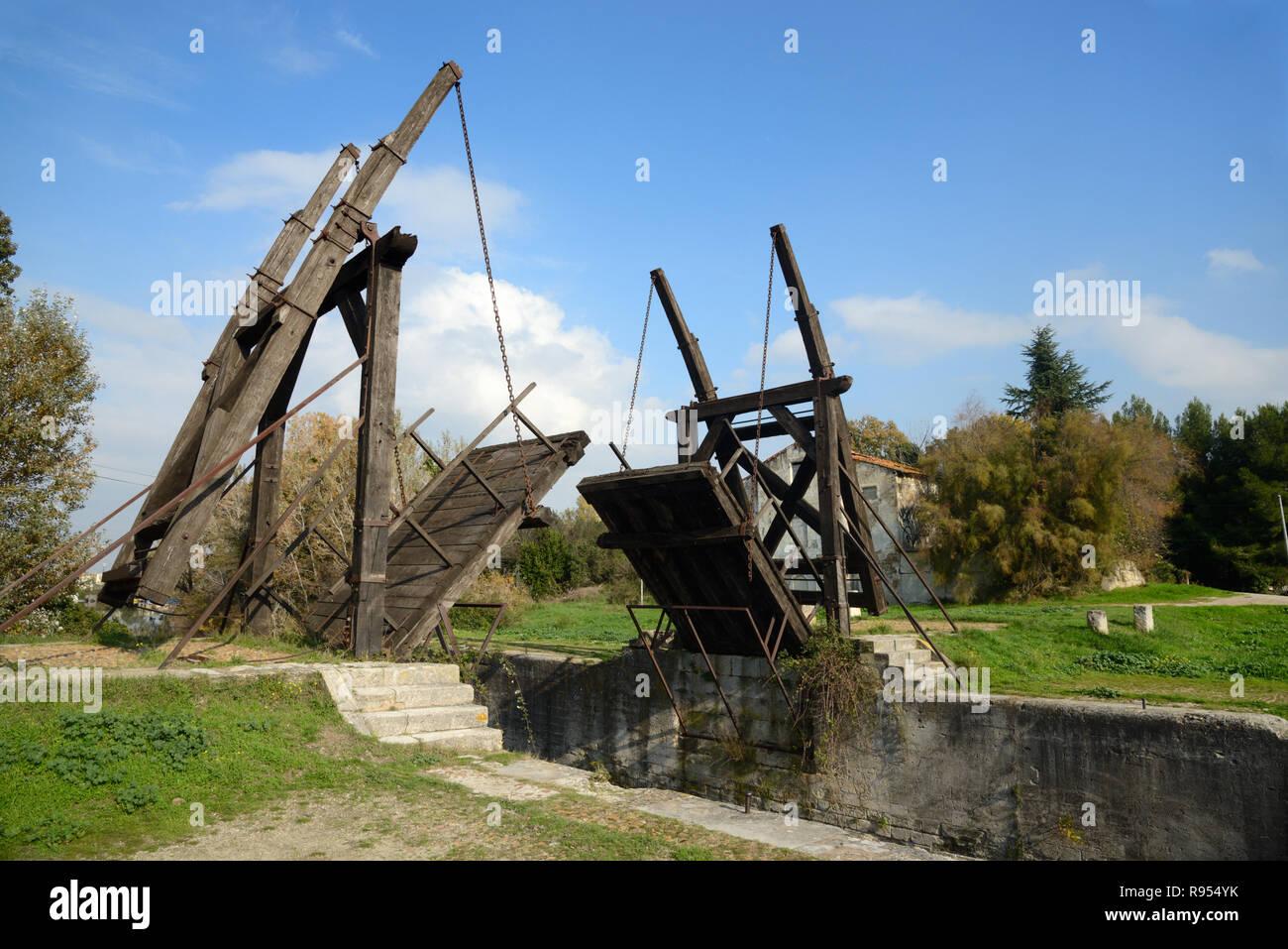 Langlois Bridge or Drawbridge aka Pont de Langlois or Van Gogh Bridge over a Canal at Arles Provence France - Stock Image