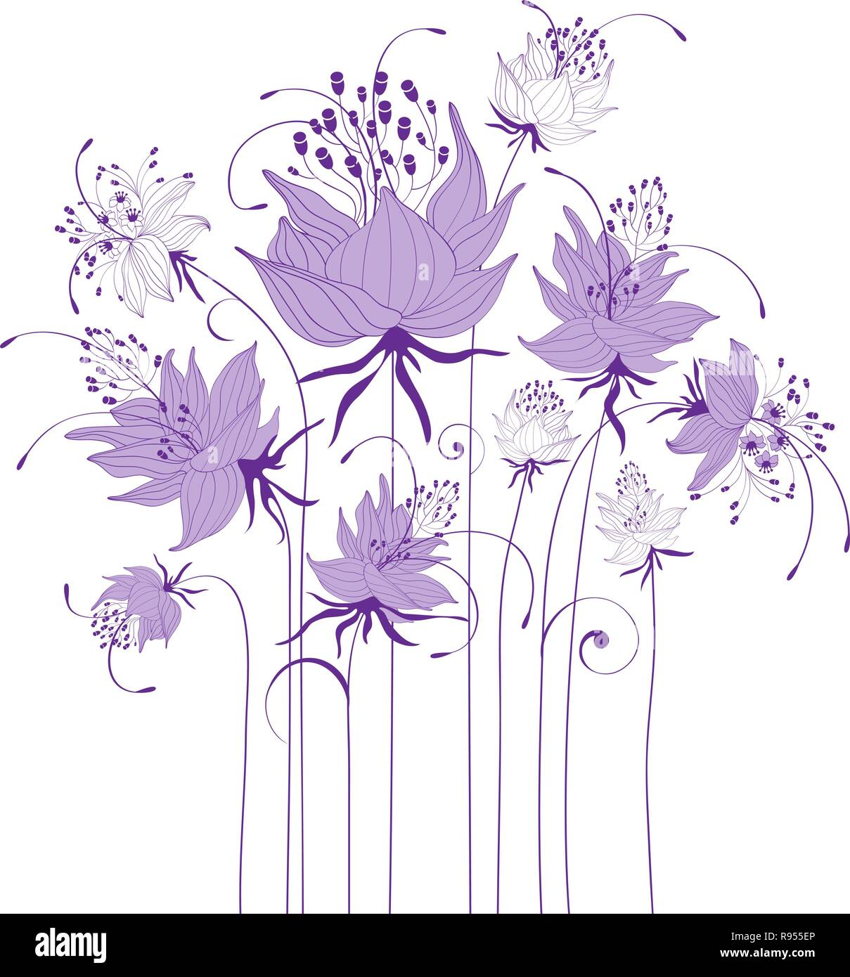 Floral design, stylized flowers - Stock Image