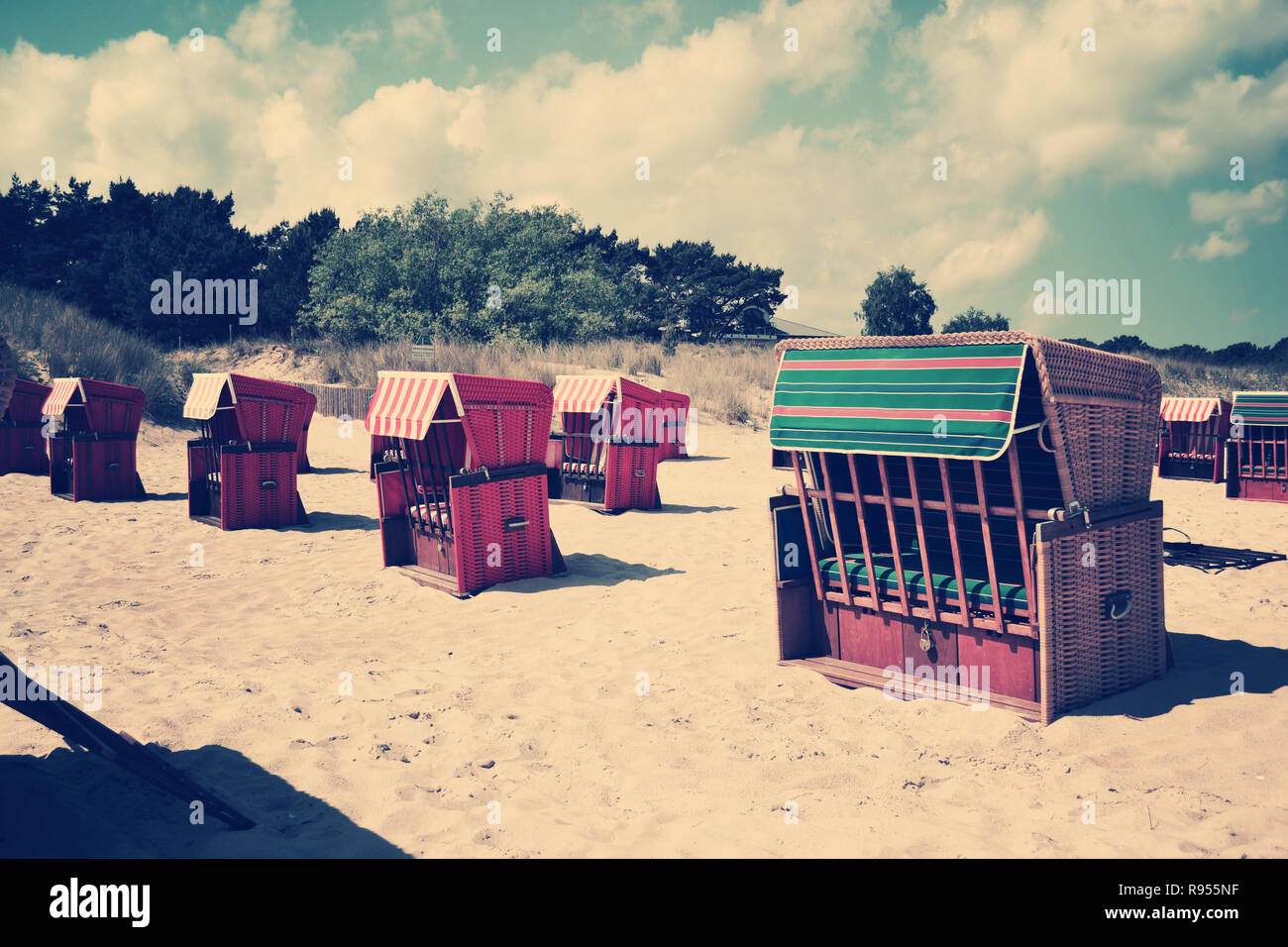beach chairs retro vintage past nostalgic old - Stock Image