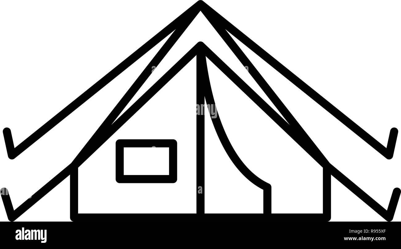 Camp tent icon, outline style - Stock Image