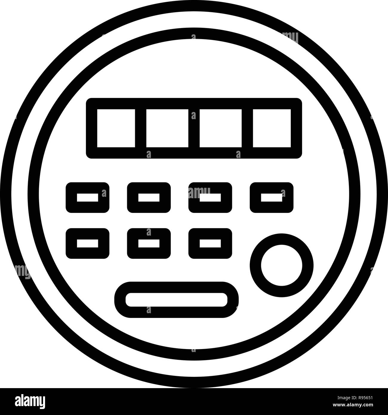 Electric energy meter icon, outline style - Stock Image