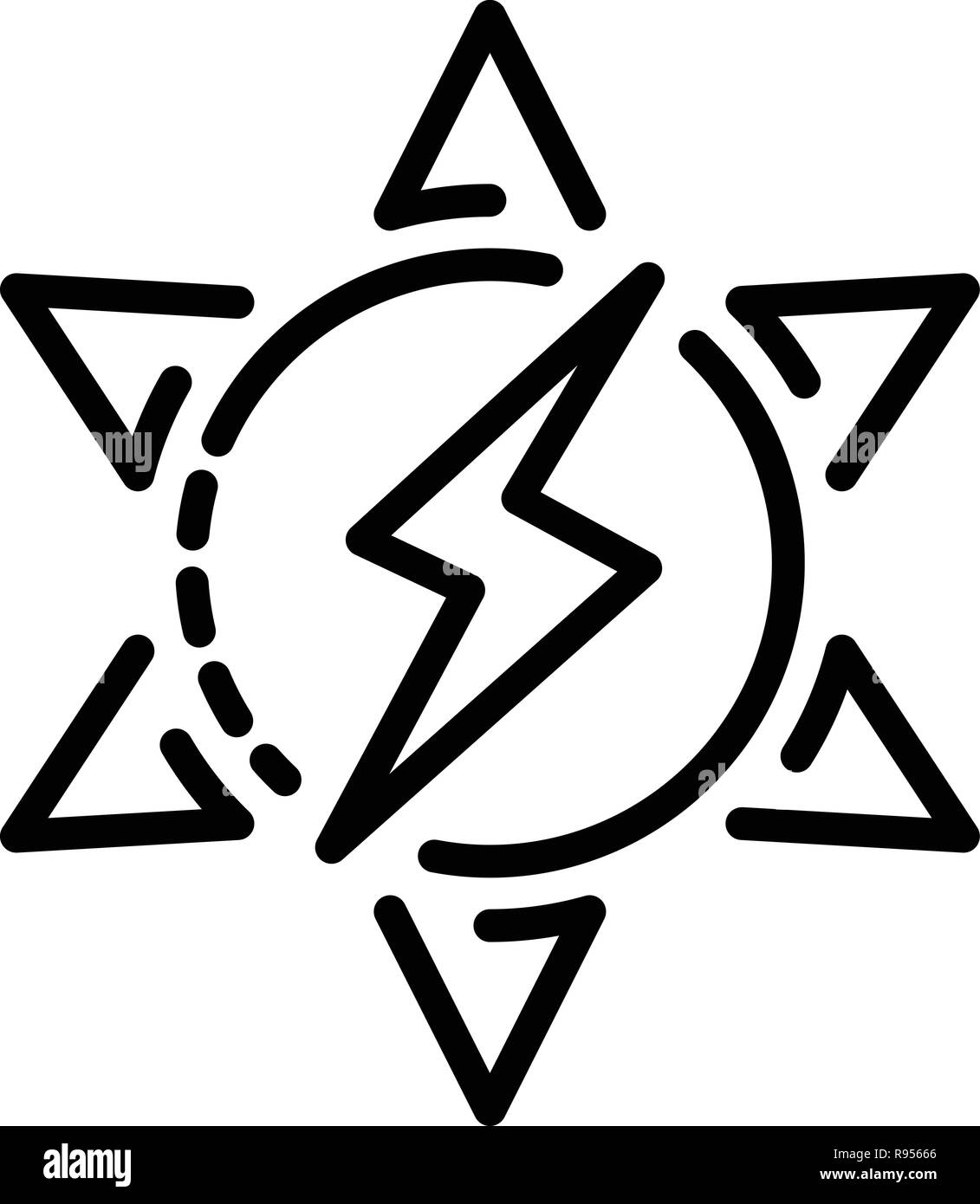 Solar energy icon, outline style - Stock Image
