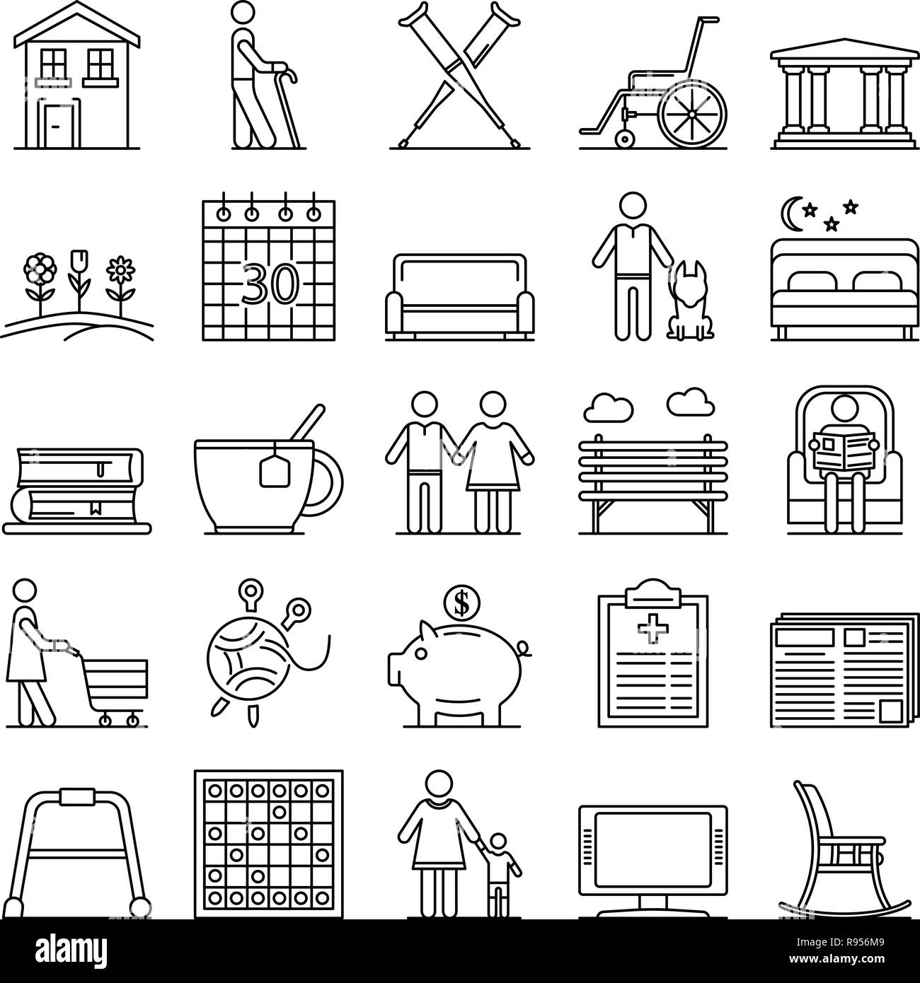 Pension icon set, outline style - Stock Image