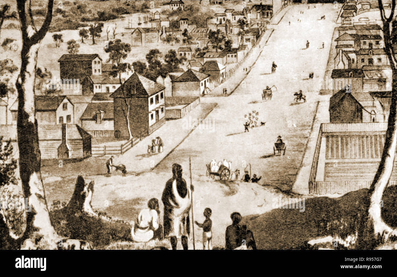 An old print showing Collins Street Melbourne, Australia around 1837 shortly after it began its monumental growth from 13 dwellings after being laid out by Robert Hoddle during the 1st survey of Melbourne - Stock Image