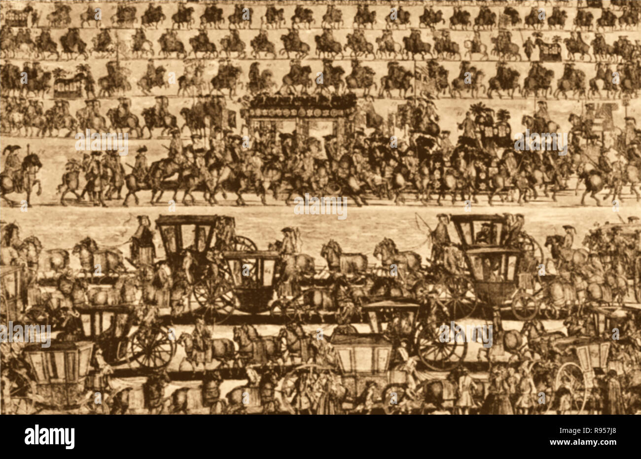 An old print showing the funeral procession in 1772 of  the Duke of Marlborough 1650-1722 - ( General John Churchill, 1st Duke of Marlborough, 1st Prince of Mindelheim, 1st Count of Nellenburg, Prince of the Holy Roman Empire, ) - Stock Image
