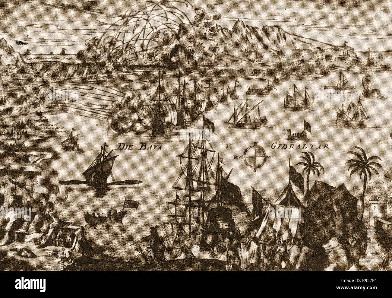 An old print showing the unsuccessful  Spanish (with the French Navy) attempt to regain Gibraltar from the British in 1772 despite a long siege (The great siege of Gibraltar) during the American War of Independence. At three years and seven months, It was the longest siege endured by the British Armed Forces and one of the longest sieges known to history. - Stock Image