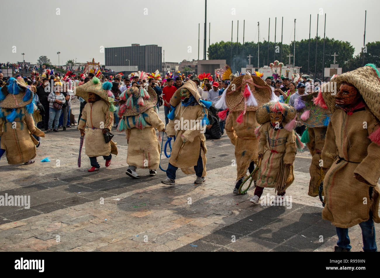 A traditional Mexican dance at the Basilica of Our Lady of Guadalupe in Mexico City, Mexico Stock Photo