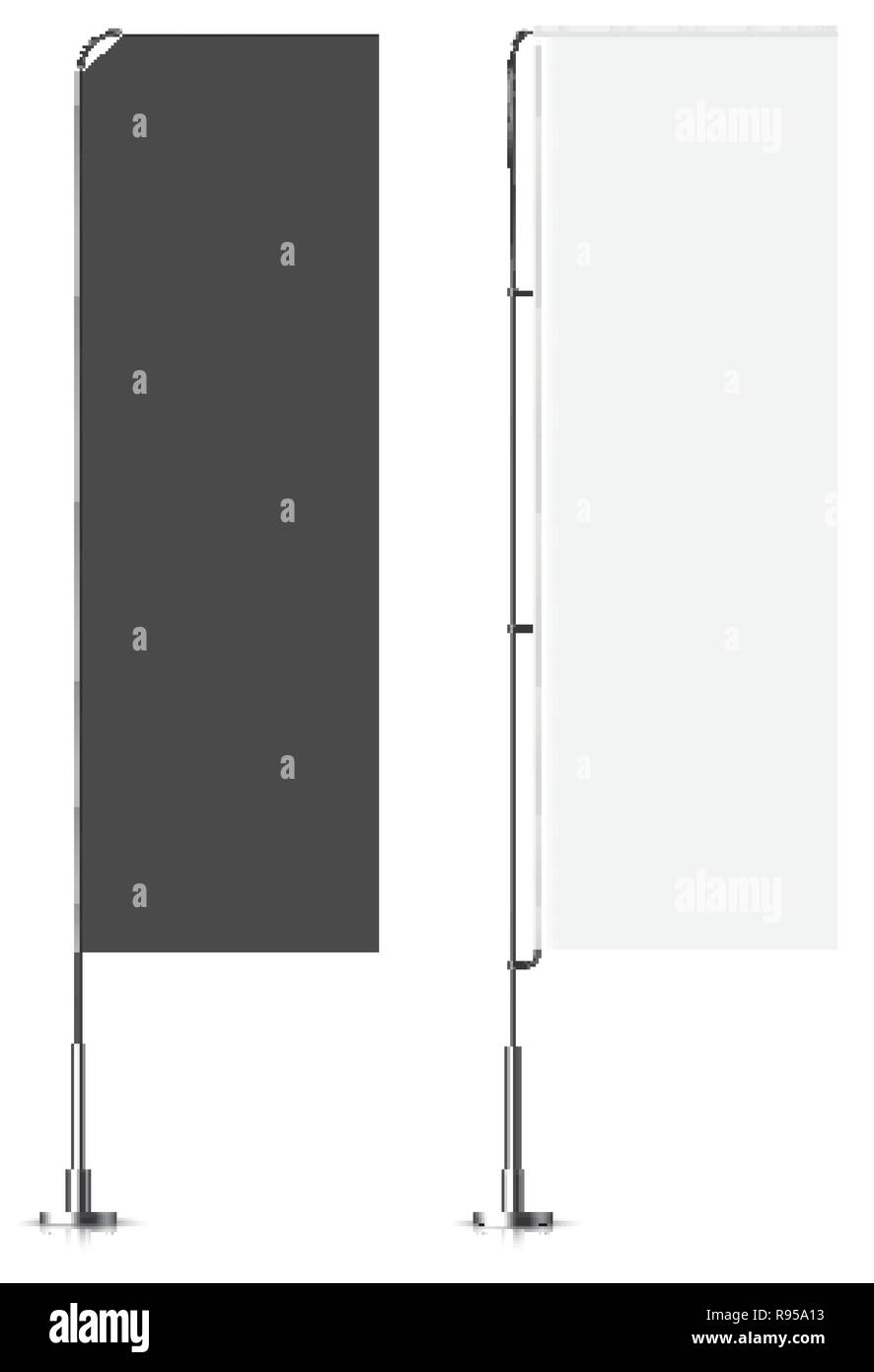 Banner flag templates. Banner flag mockups set. Vector mock-up. Realistic vector illustration. Stock Vector
