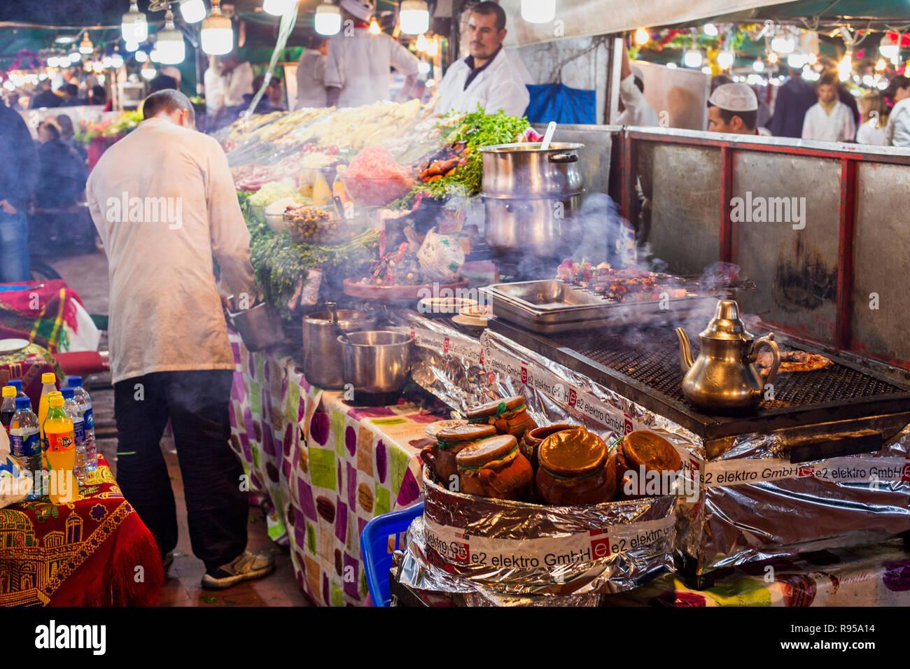 Night food market Marrakesh Medina Stock Photo