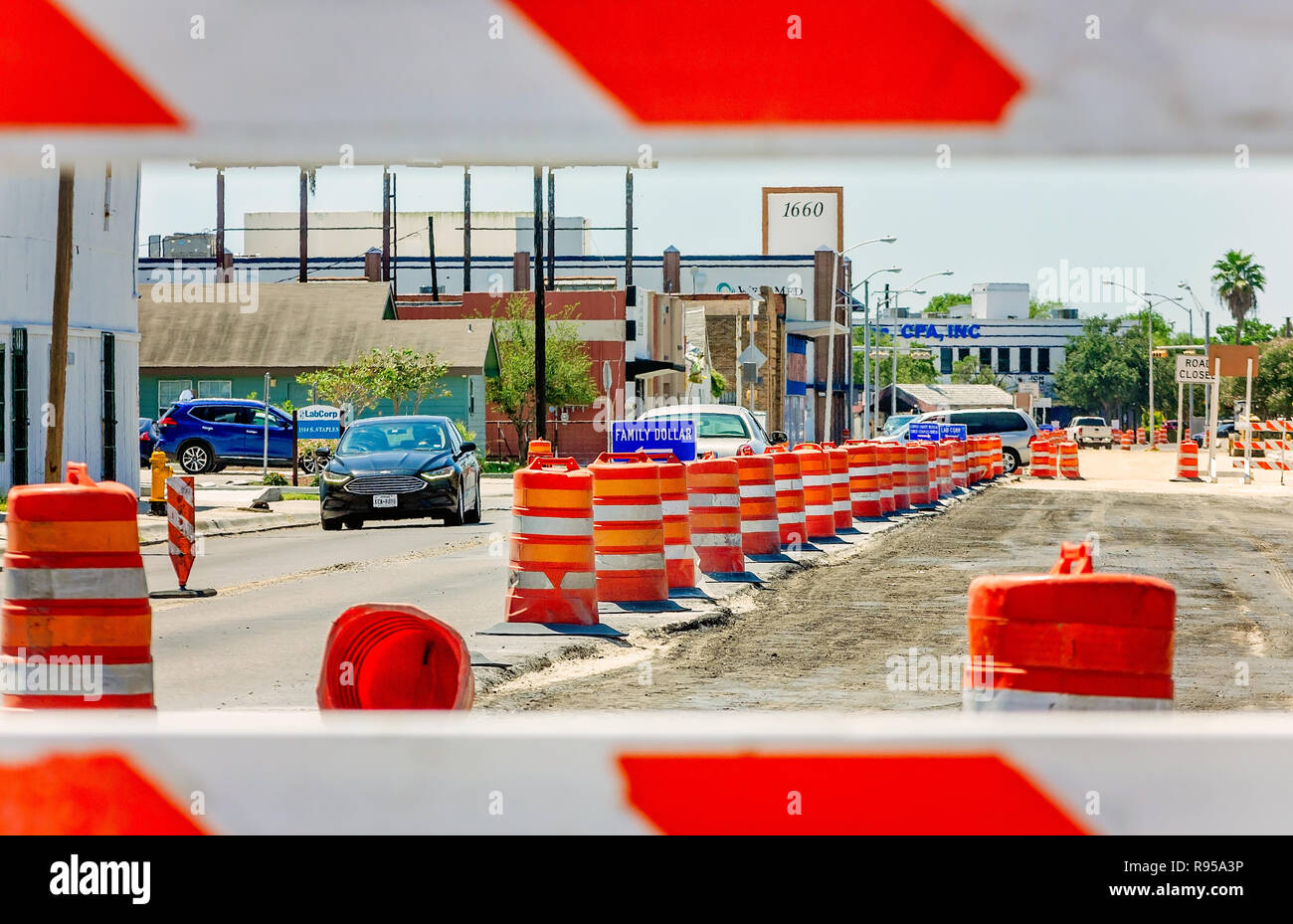 Cars travel through a maze of traffic cones on Staples Street, Aug. 23, 2018, in Corpus Christi, Texas. - Stock Image