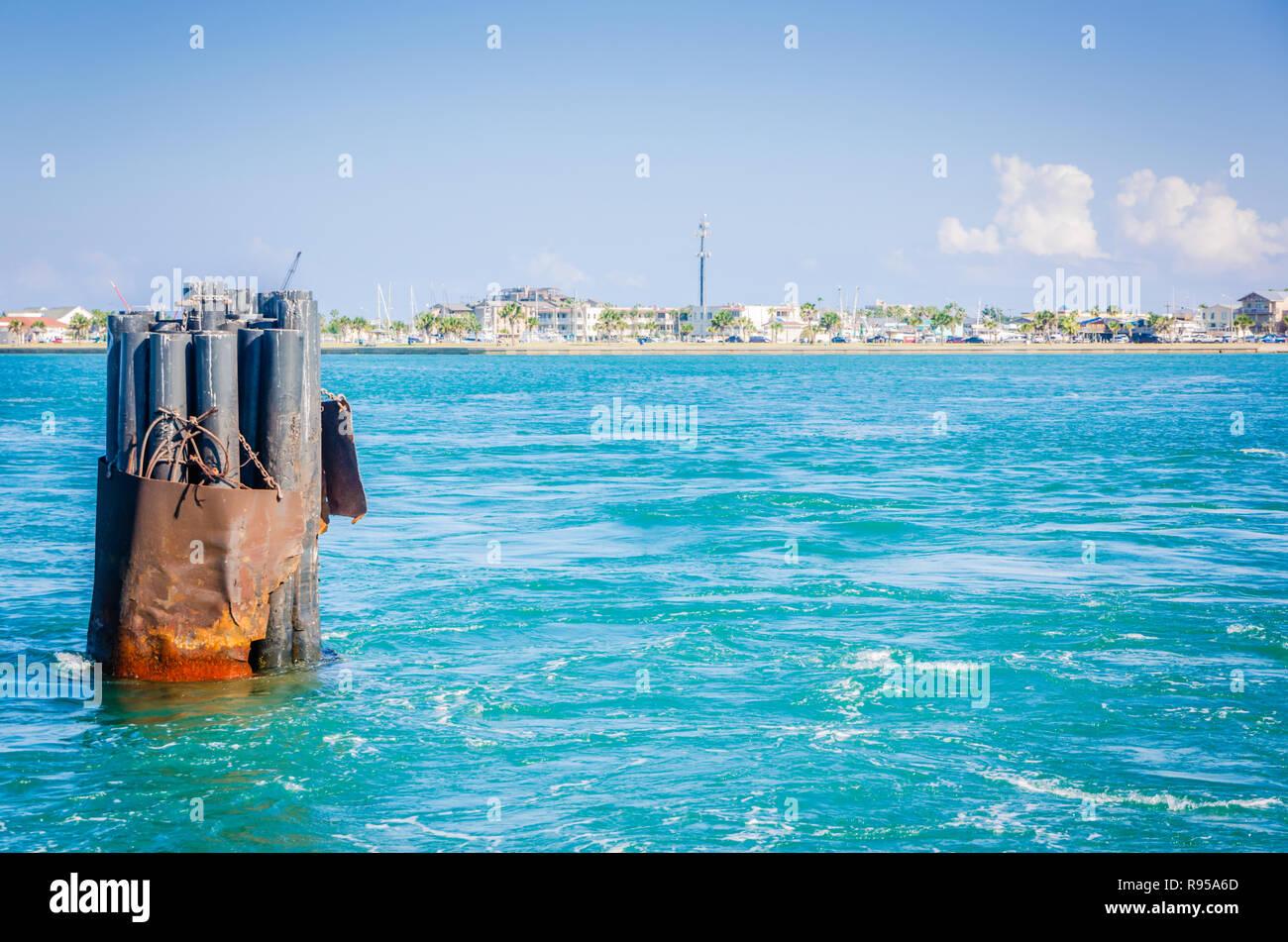 Port Aransas is viewed from the Aransas Pass Ferry Landing, Aug. 25, 2018, in Port Aransas, Texas. - Stock Image