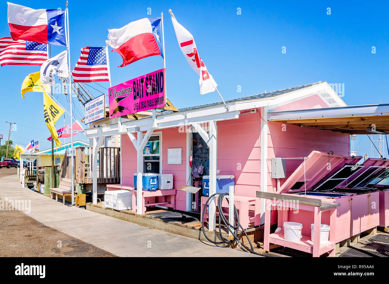 Flemings Bait Stand advertises shrimp for sale, Aug. 25, 2018, in Rockport, Texas. The area was heavily damaged by Hurricane Harvey in 2017. - Stock Image