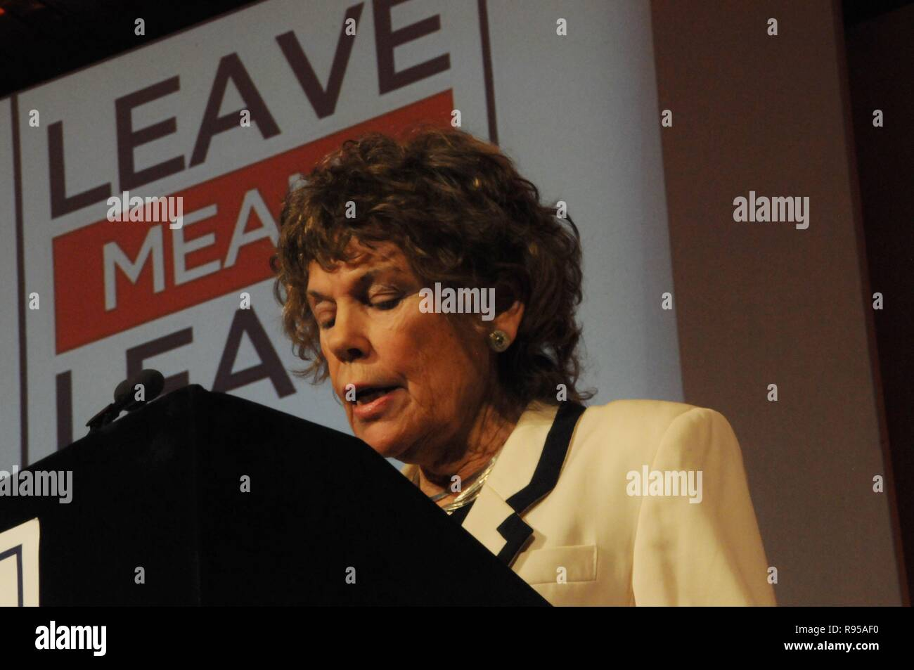 The Labour MP for Vauxhall, Kate Hoey, talks to fellow Brexiteers, at the Leave Means Leave campaign, London - Stock Image
