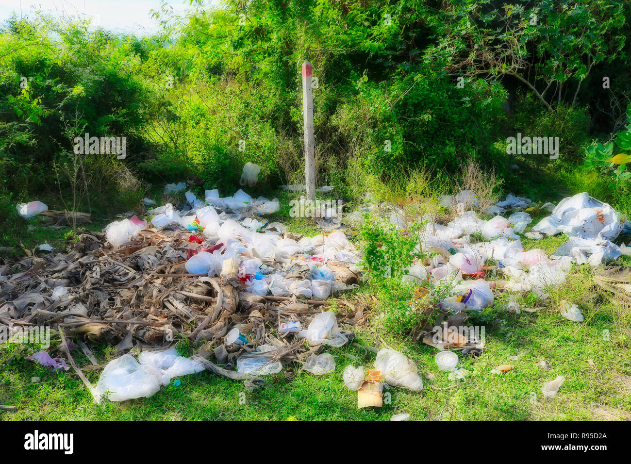 This photo shows the catastrophic pollution with plastic garbage in Thailand! The photo was taken in Hua Hin - Stock Image