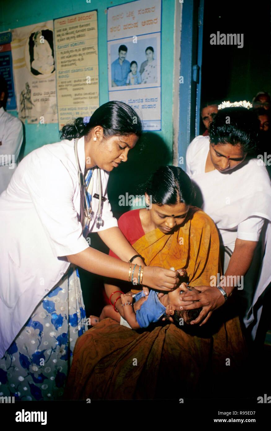 medical center, polio vaccination program - Stock Image