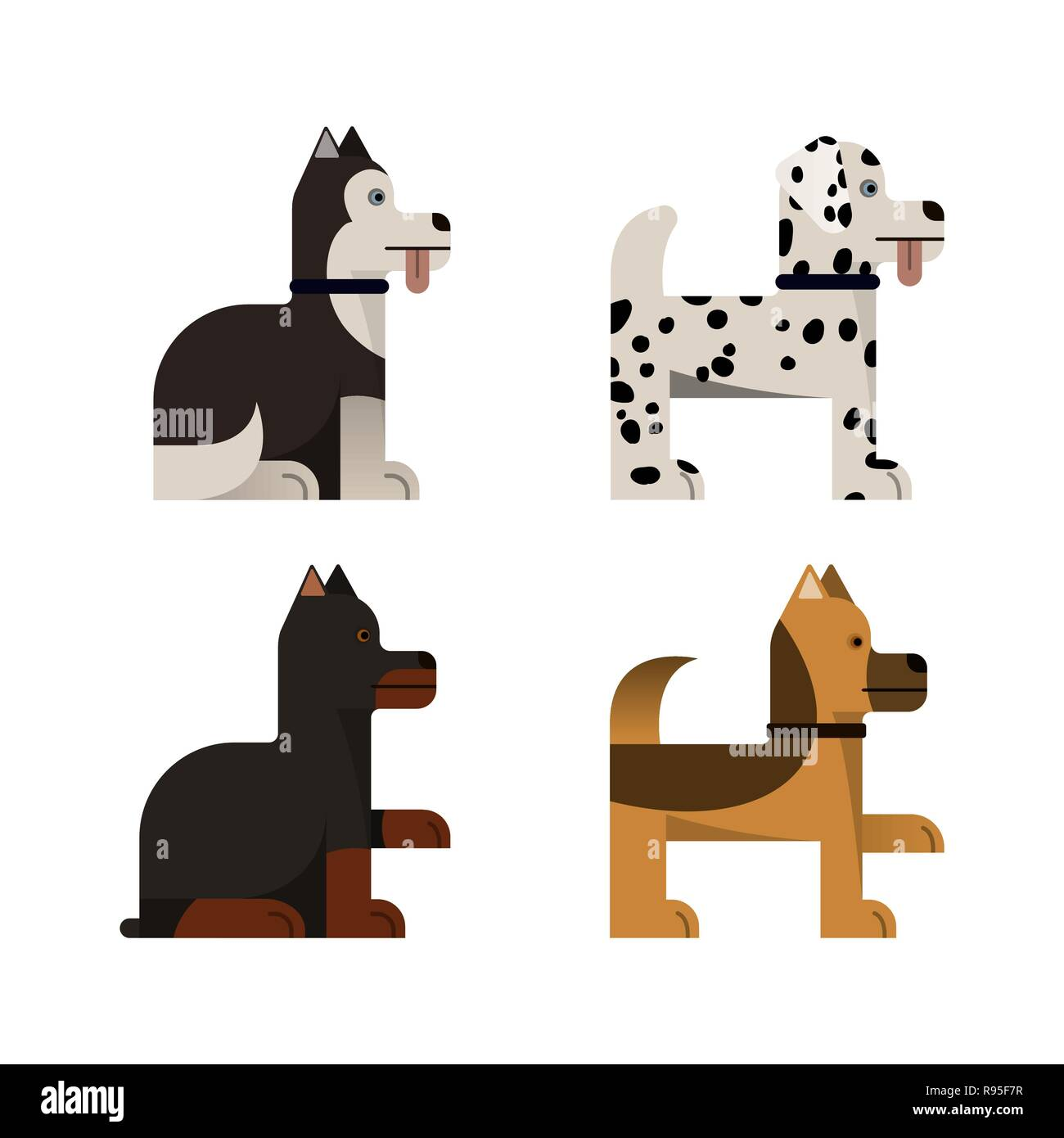 Dogs. Doberman, shepherd, husky and dalmatian. Vector illustration Flat icons set - Stock Vector