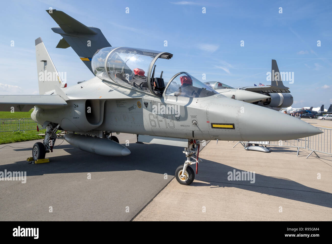 BERLIN, GERMANY - APR 27, 2018: Alenia Aermacchi M-346 Master military trainer aircraft on display at the Berlin ILA Air Show. - Stock Image