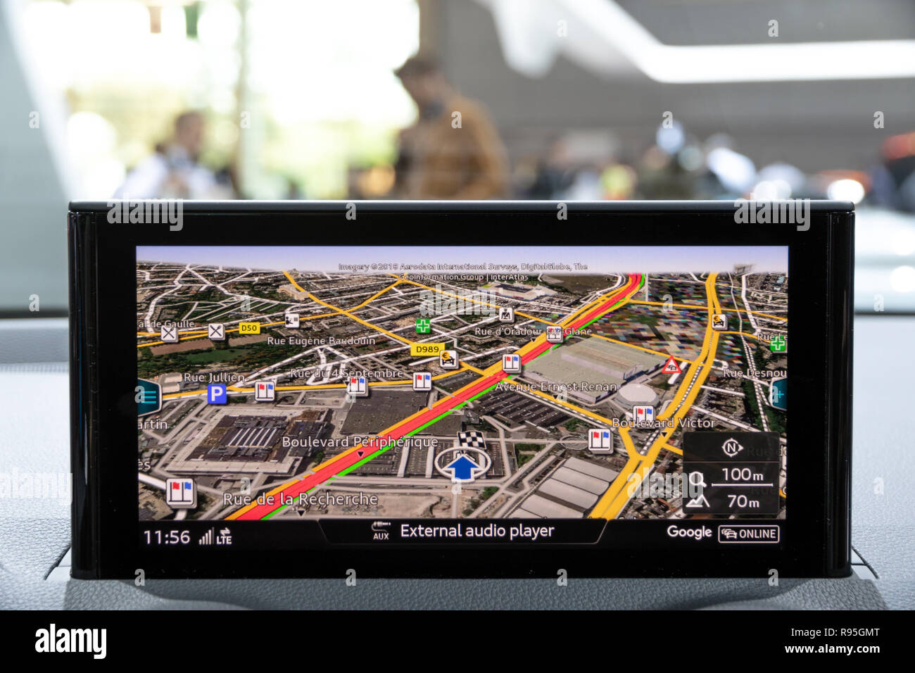 PARIS - OCT 3, 2018: Navigation consule on the dashboard of an Audi A6 car showcased at the Paris Motor Show. - Stock Image