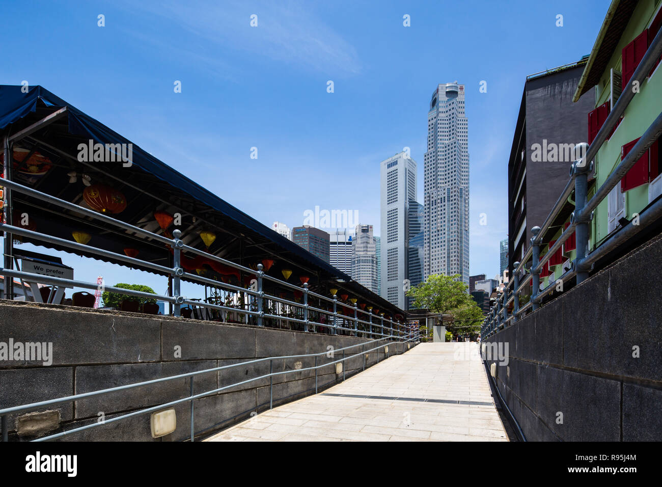 View of One Raffles Place from Boat Quay, Singapore. - Stock Image