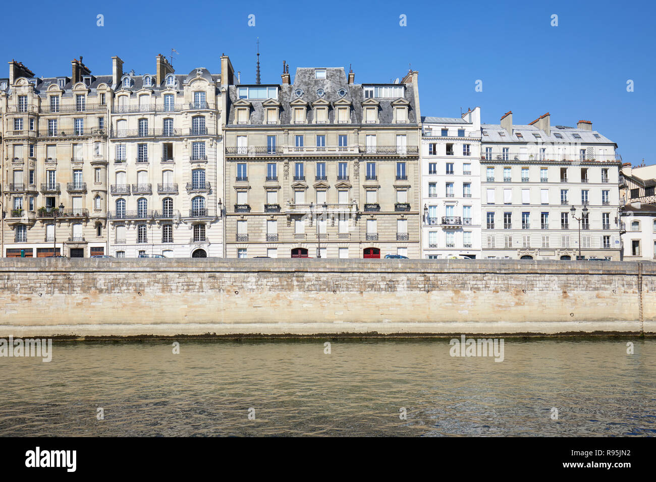 Paris buildings and river in a sunny summer day in France Stock Photo
