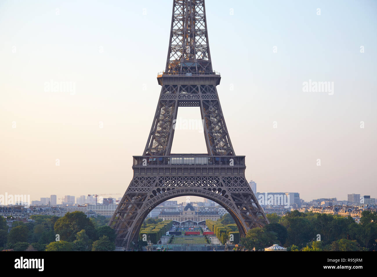 Eiffel tower detail from Trocadero in a clear summer morning in Paris, France - Stock Image
