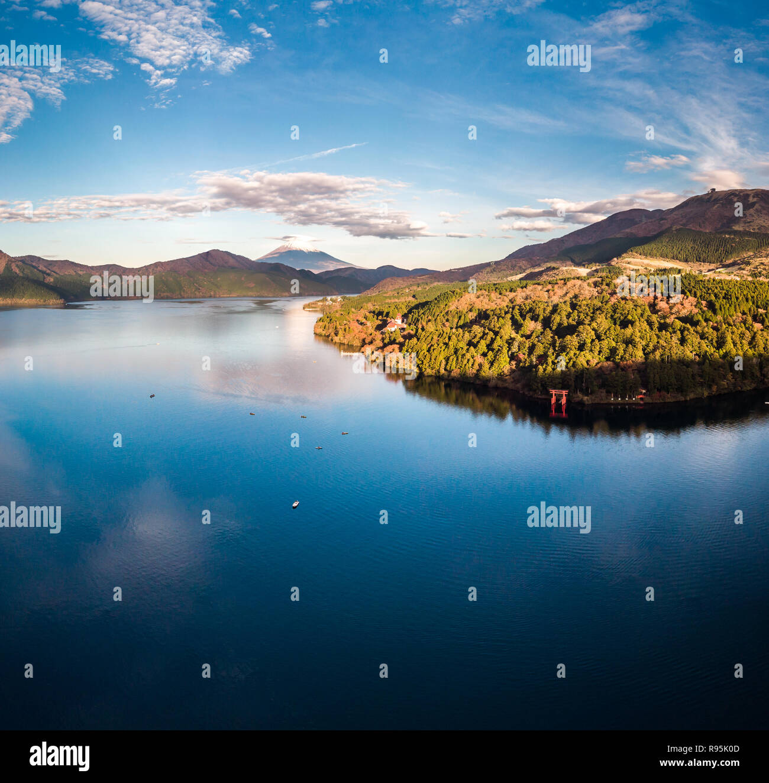 Mount Fuji and Lake Ashi.The shooting location is Lake Ashi, Kanagawa Prefecture Japan.View from drone.-aerial photo. - Stock Image