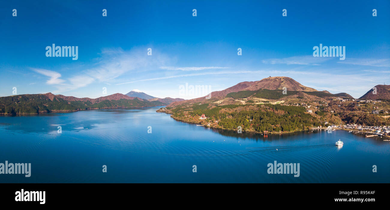 Mount Fuji and Lake Ashi.The shooting location is Lake Ashi, Kanagawa Prefecture Japan.View from drone.-aerial photo. - Stock Image
