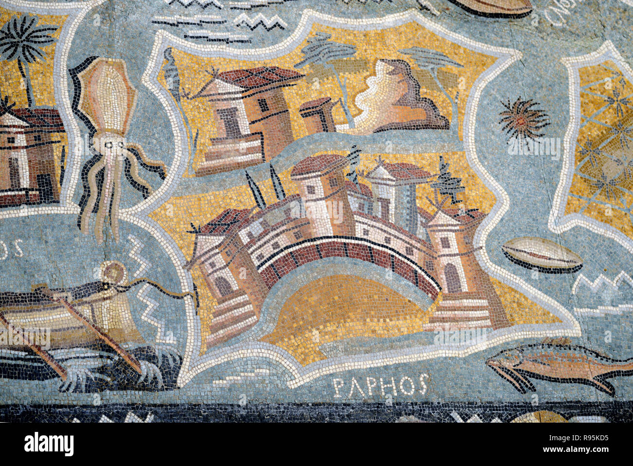 Roman Floor Mosaic (c3rd-c4th) of Paphos and Map or Plan of Cyprus from the Ancient Roman City of Ammaedara Haidra Tunisia - Stock Image