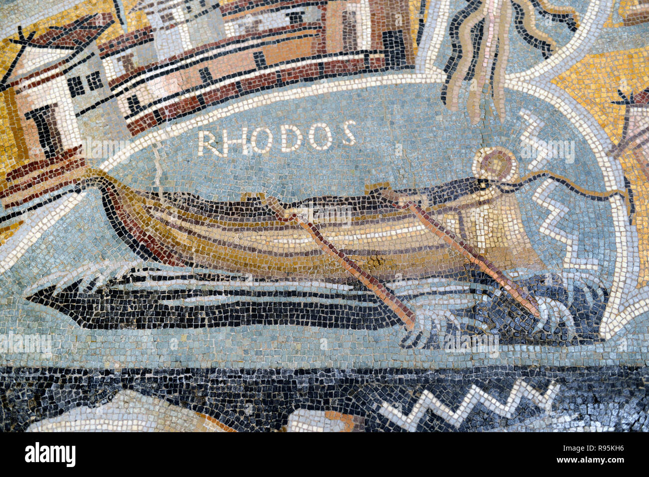 Roman Floor Mosaic (c3rd-c4th) of Roman Galley, Rowing Boat or Wooden Boat off Rhodes, Greece, from Ancient Roman City of Ammaedara Haidra Tunisia Stock Photo