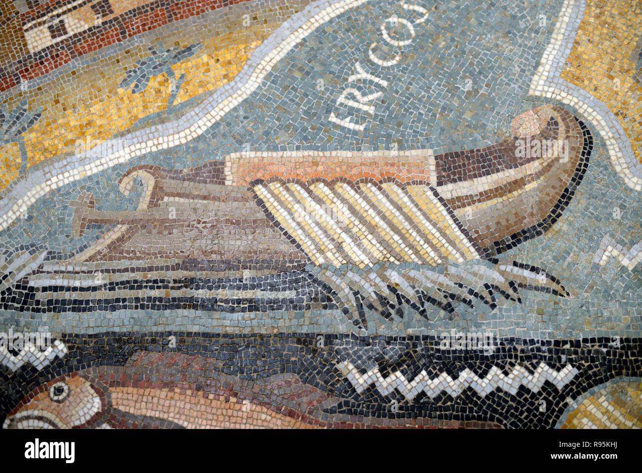 Roman Floor Mosaic (c3rd-c4th) of Roman Galley, Rowing Boat or Wooden Boat off Erice, Sicily, from Ancient Roman City of Ammaedara Haidra Tunisia - Stock Image
