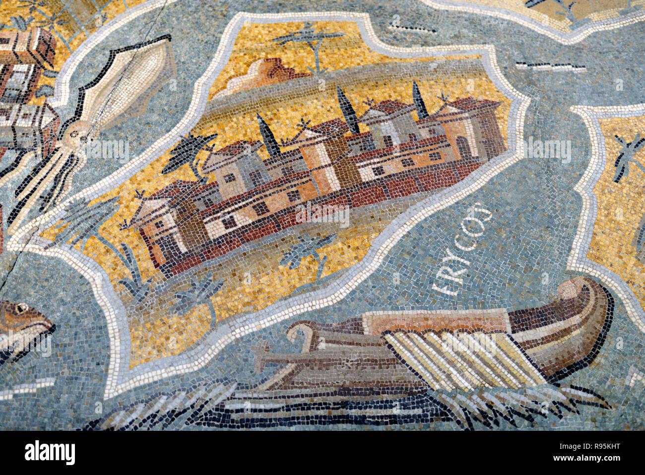 Roman Floor Mosaic (c3rd-c4th) of Erice & Mount Erice, anc Erycos & Mount Eryx, Sicily, from Ancient Roman City of Ammaedara Haidra Tunisia - Stock Image
