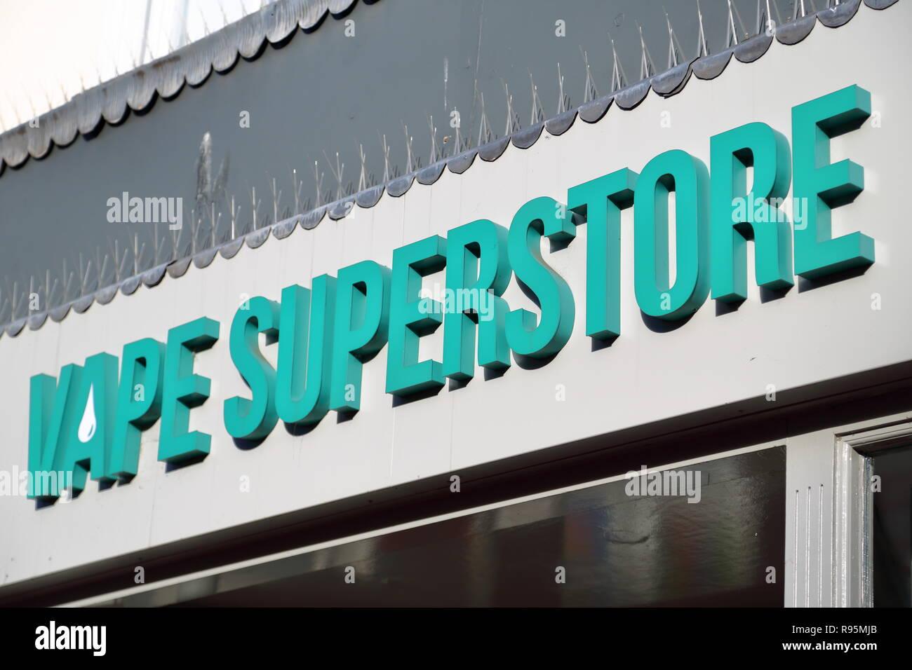 Vape Superstore logo above shop - Stock Image