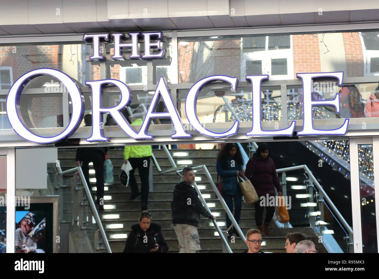 The Oracle entrance in Reading, UK Stock Photo
