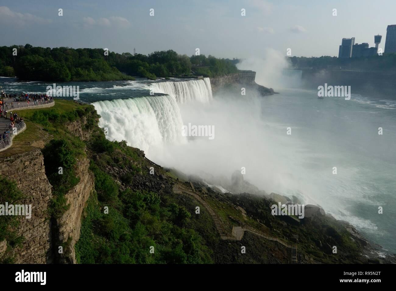 Niagara Falls And Tourists From The American Side Niagara