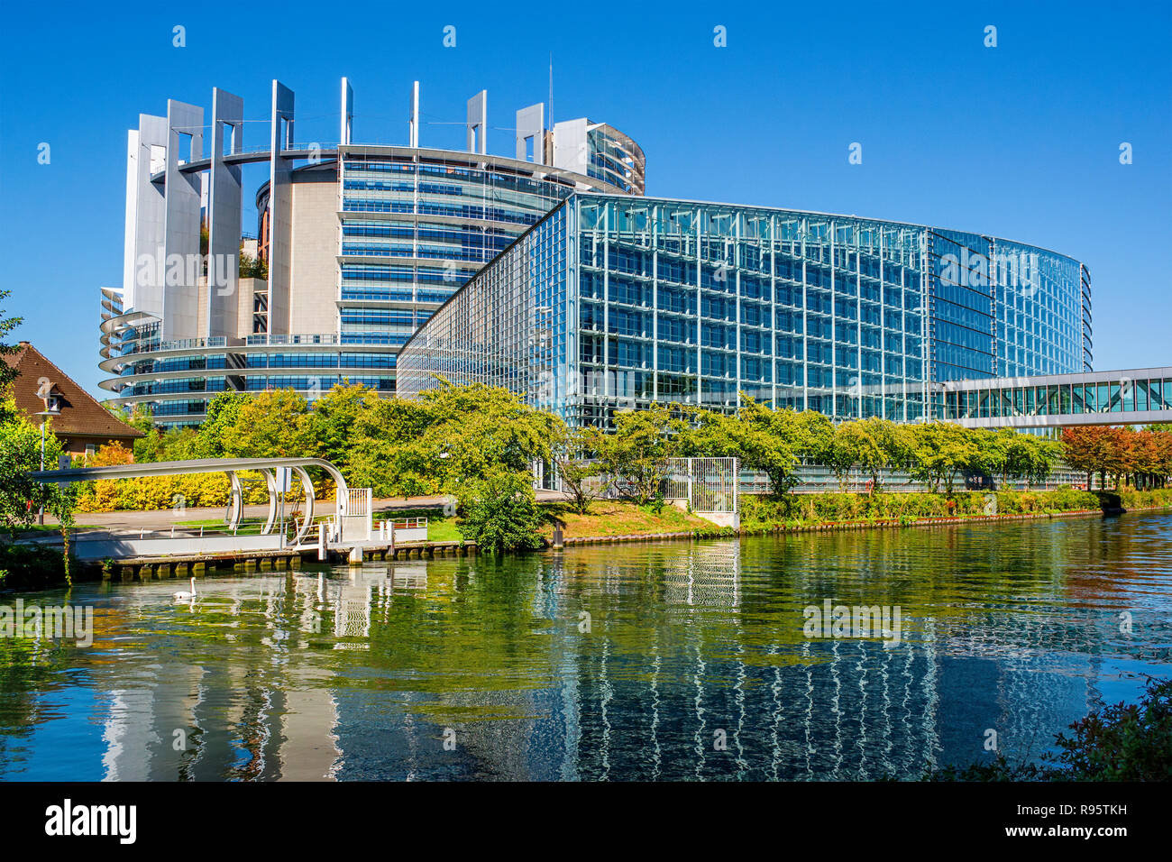 Building of the European Parliament in Strasbourg (France) Stock Photo