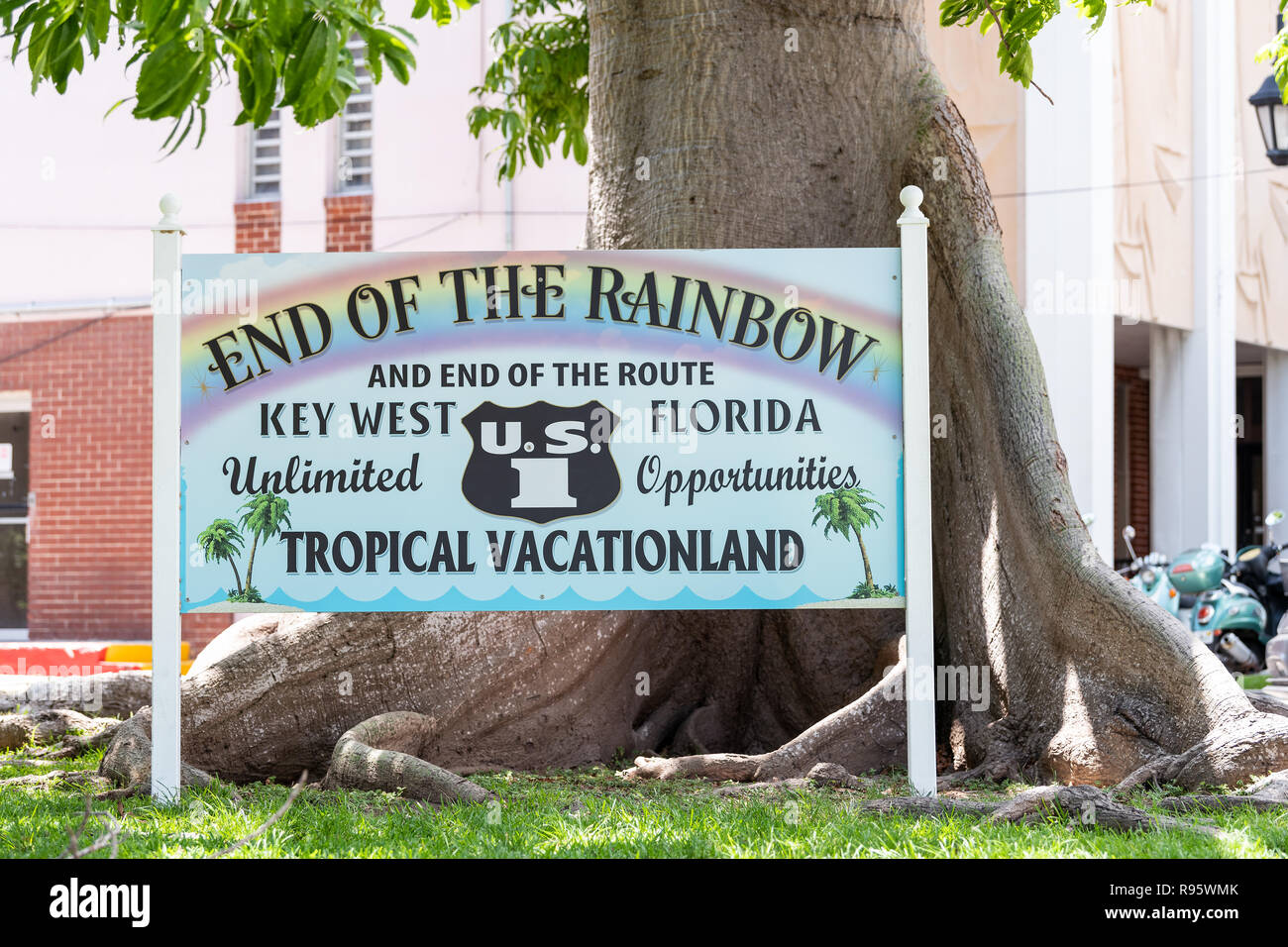 Key West, USA - May 1, 2018: Florida scenic overseas highway, US1, US one, 1, North route, road street, freeway sign in key for End of Rainbow, route, - Stock Image