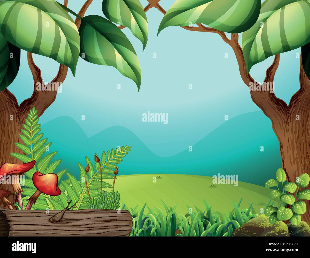 A green jungle template illustration - Stock Image