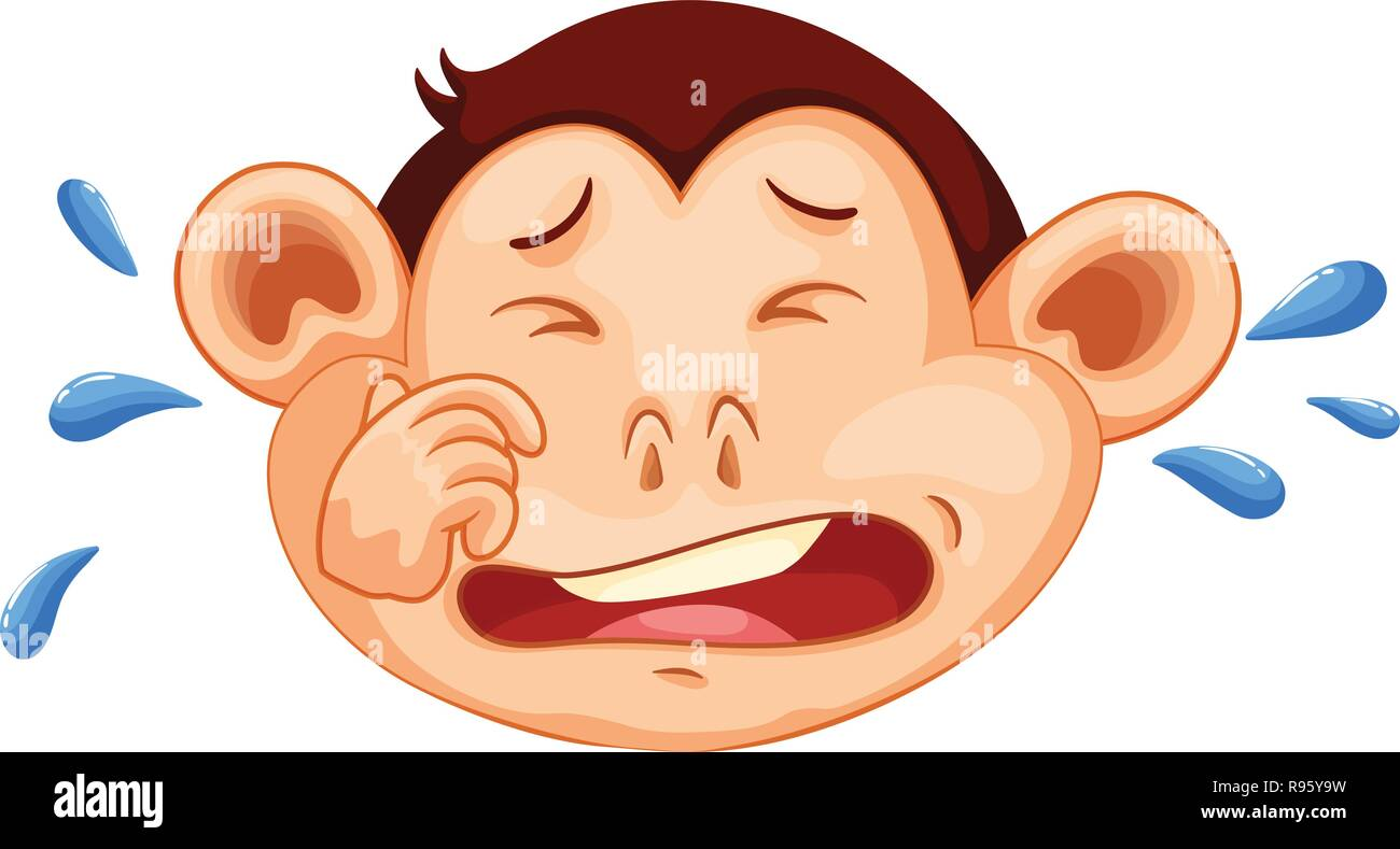 A monkey crying face illustration - Stock Vector