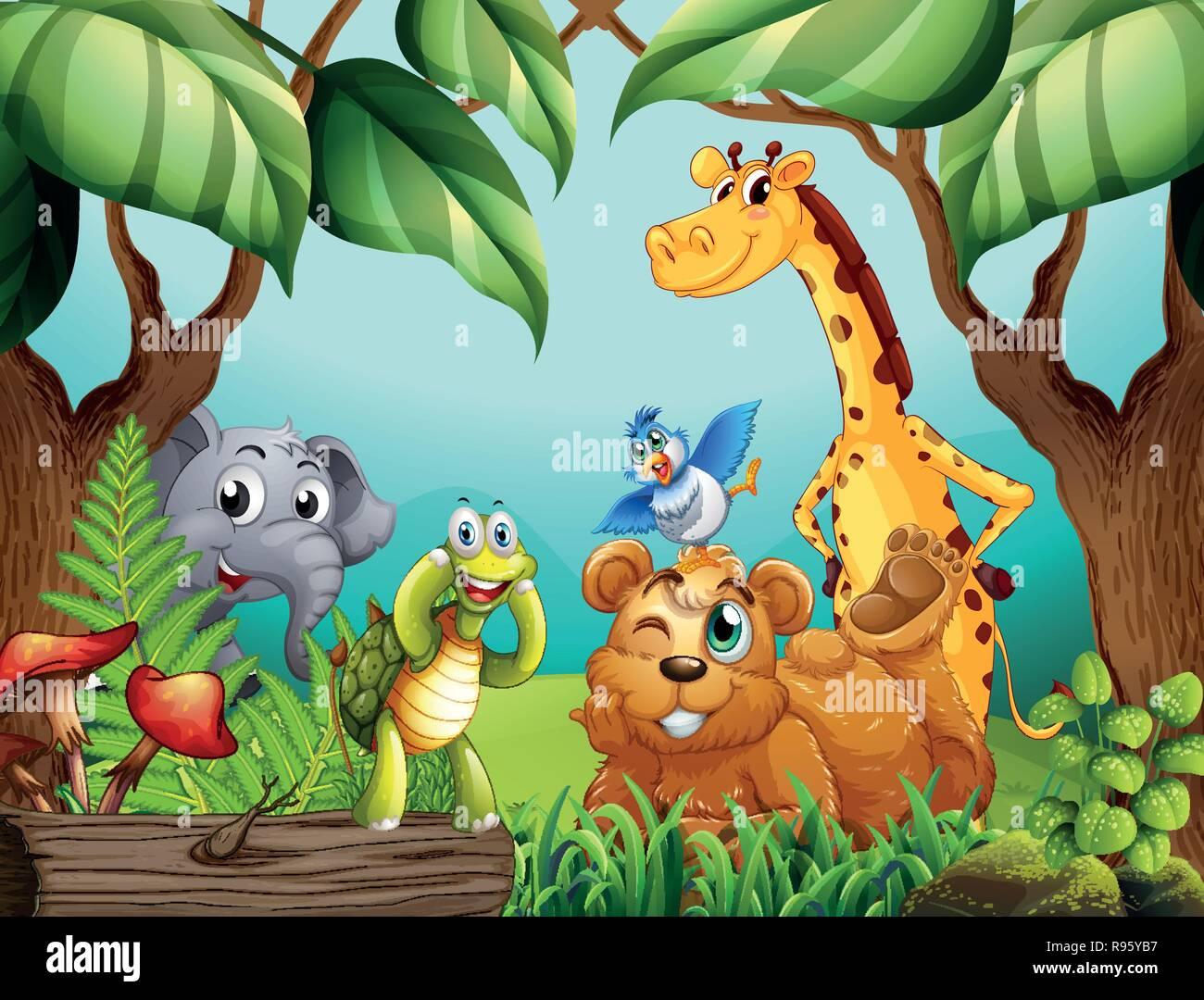 Wild animals in nature illustration - Stock Image