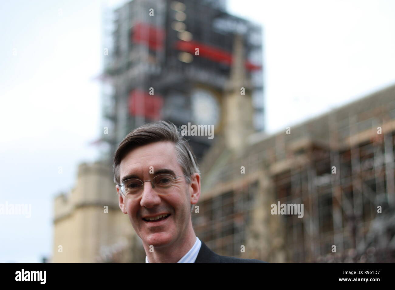 Jacob Rees-Mogg standing outside parliament, Westminster, London UK on 17th April 2018. Jacob gave his consent for these photographs to be taken. European research group. ERG. - Stock Image
