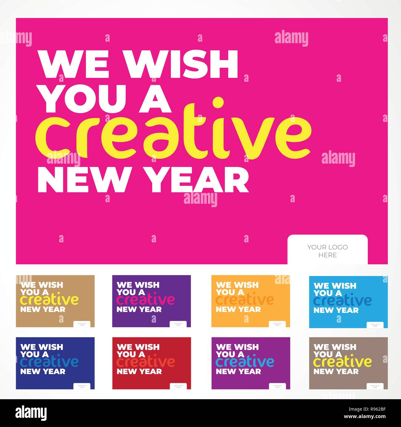New year Wish Cards with beautiful gradients and a minimalistic touch. Just add the logo of your company and you're good to go ! Stock Vector
