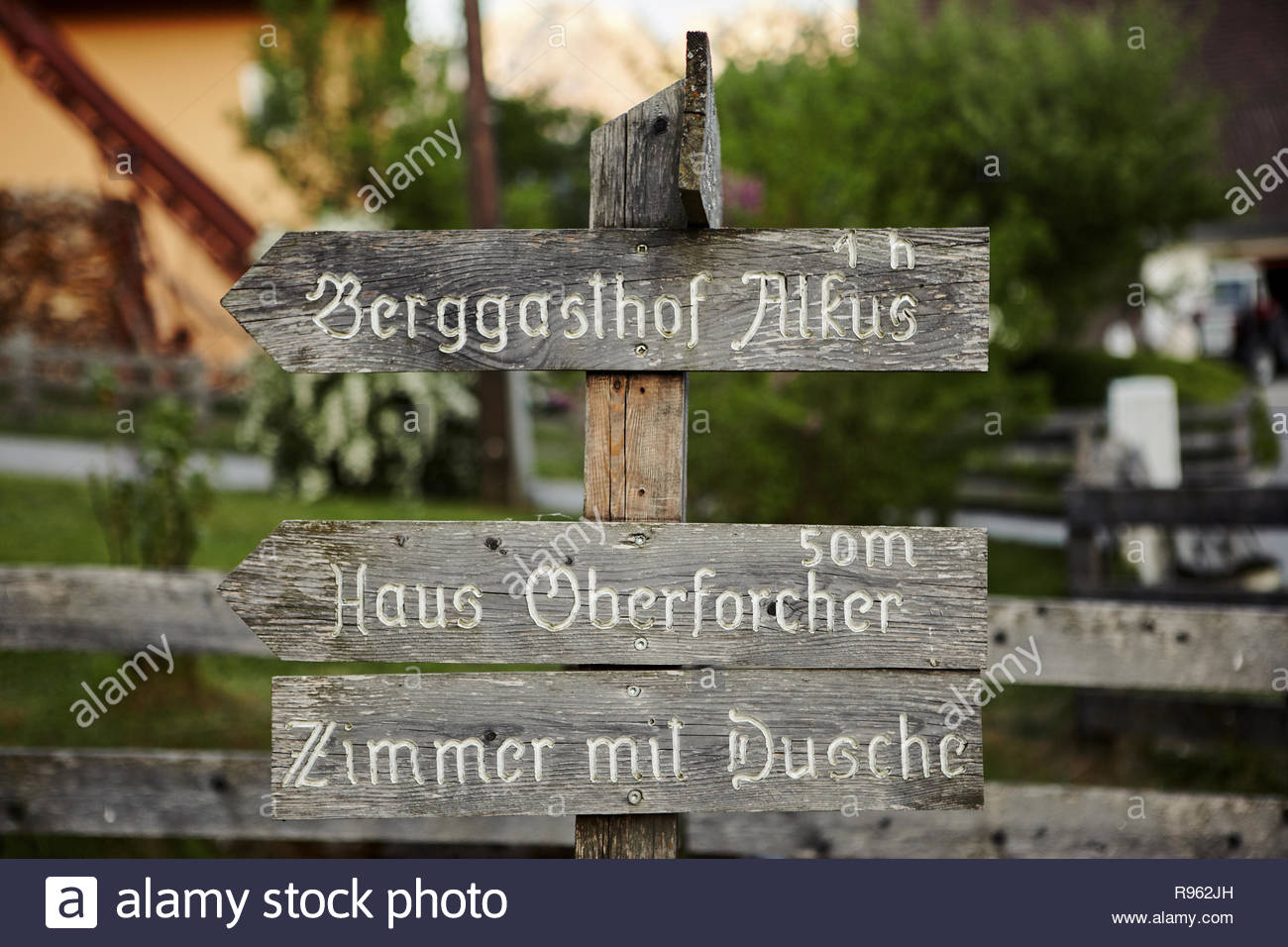 Ainet, Tyrol, Austria May 10, 2011: Wooden sign post - Stock Image