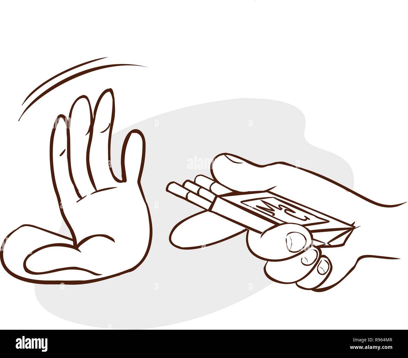 Hand refusing a cigarette offer, isolated on grey background - Stock Vector