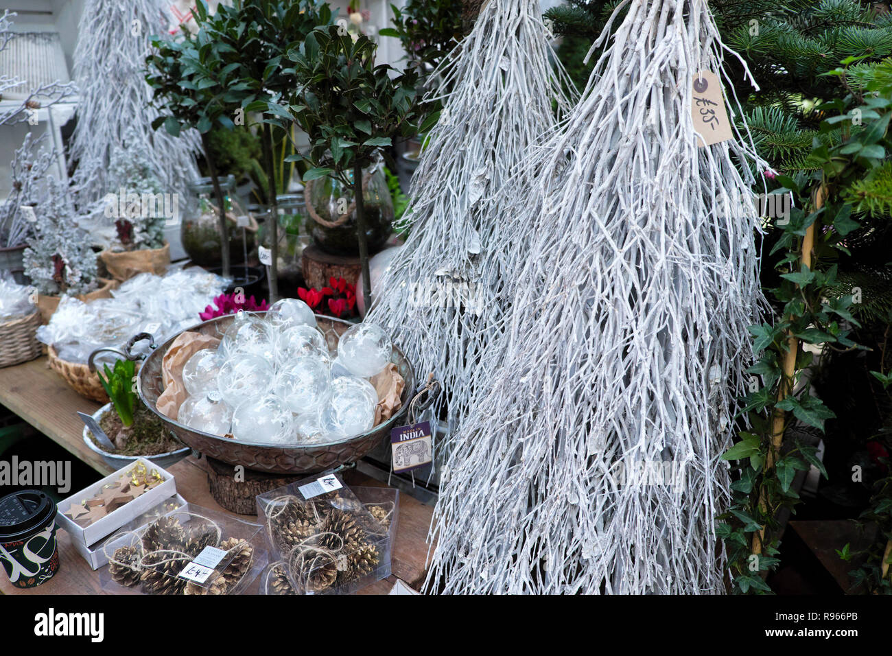 Christmas Ornaments White Painted Branches Glass Baubles Decorations For Sale On A Stall At Borough Market In South London England Uk Kathy Dewitt Stock Photo Alamy