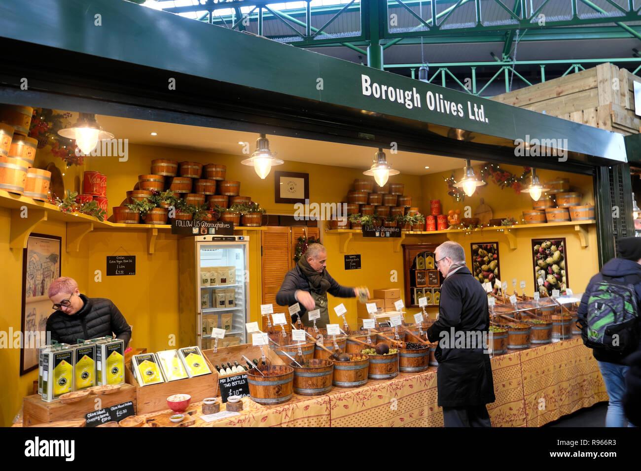 Borough Olives Ltd. olive market stall at Borough Market in London England UK  KATHY DEWITT - Stock Image