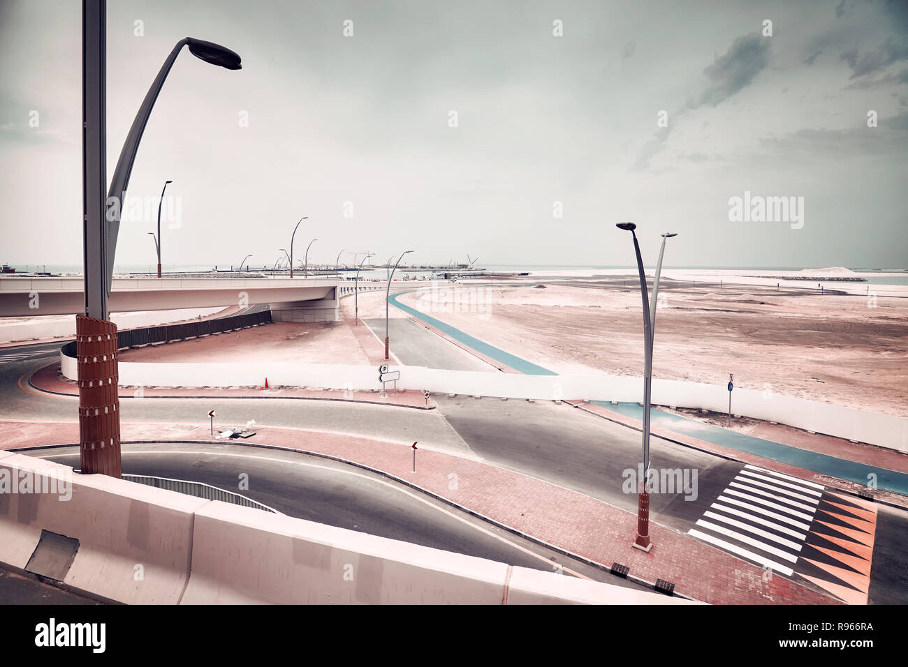 Modern transport infrastructure construction site, color toned picture. Stock Photo