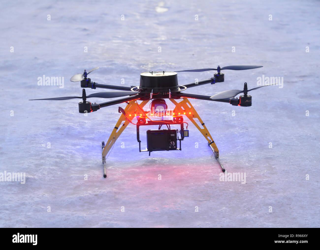 Kovrov, Russia. 16 December 2012. Hexacopter prepared for flight - Stock Image